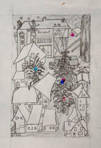 Zeichnung Häuser Malschule