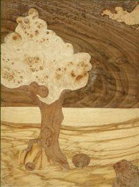 Intarsie Holz Furnier Baum mit Gnomen